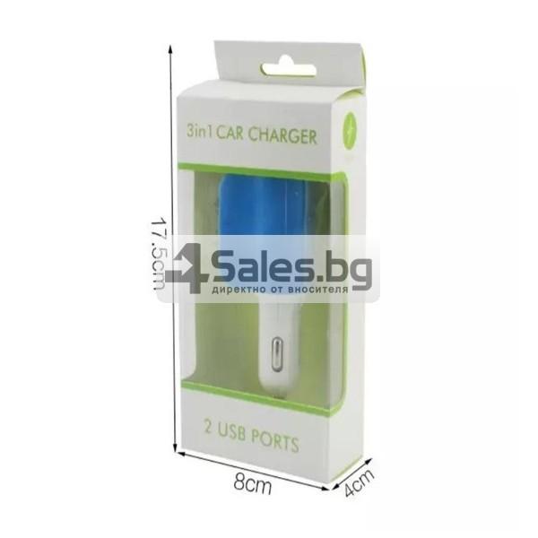 Многофункционално зарядно за кола 3.1 Dual USB CA112 10