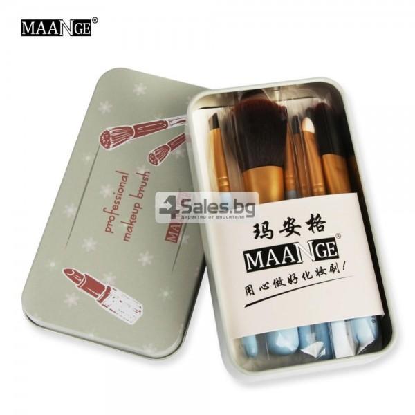 Комплект четки за грим с преносима метална кутия 7 броя MAANGE HZS105 8