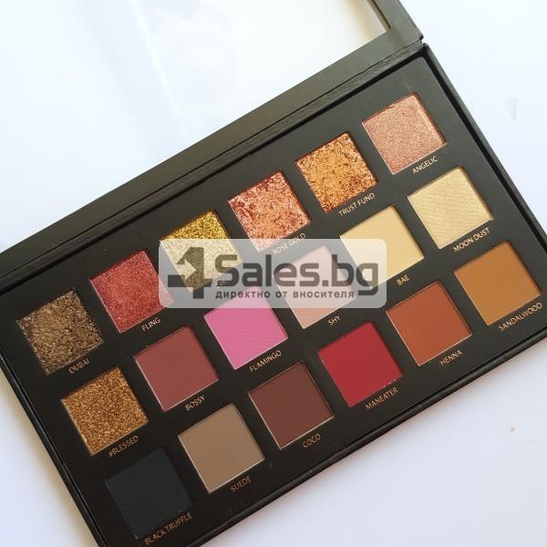 Комплект от 18 цвята сенки за очи в удобна палитра HUDA BEAUTY HZS115 9