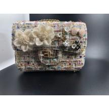 Малка дамска чантичка с цветя и розови перлички във винтидж стил ZSB-S-2