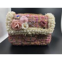 Розова дамска чантичка, декорирана с цветя и перли ZSB-S-4