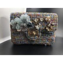Елегантна синя дамска чантичка с красива декорация ZSB-S-5
