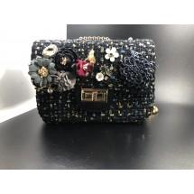 Изискана класическа черна дамска чантичка декорирана с цветя ZSB-S-7