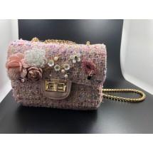 Розова дамска чантичка с цветя ZSB-S-9