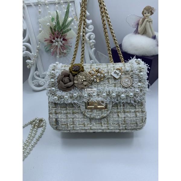 Стилна дамска чантичка с френски чар, с цветя и перли ZSB-S-12 1