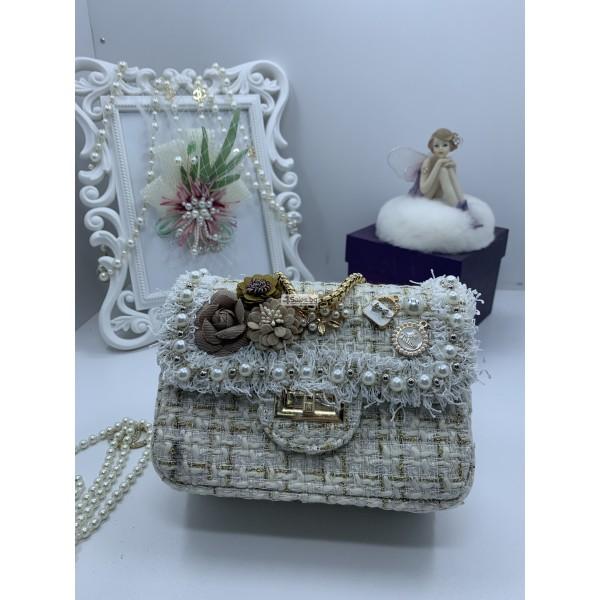 Стилна дамска чантичка с френски чар, с цветя и перли ZSB-S-12 2