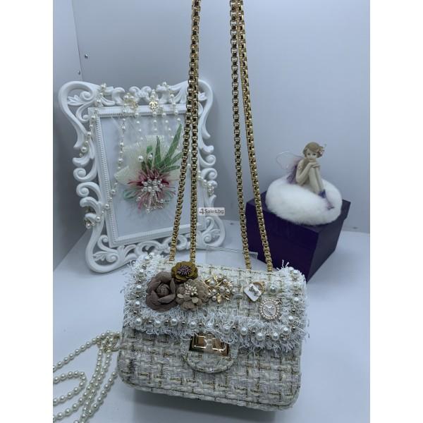 Стилна дамска чантичка с френски чар, с цветя и перли ZSB-S-12 3