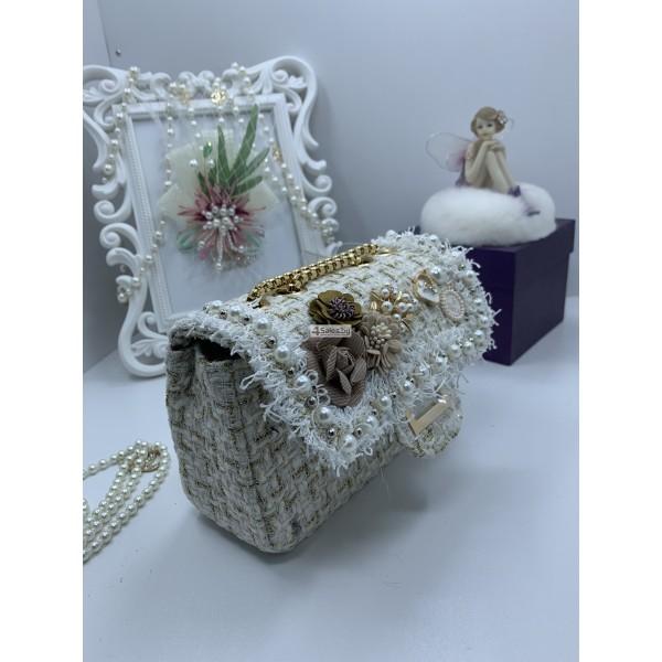 Стилна дамска чантичка с френски чар, с цветя и перли ZSB-S-12 5
