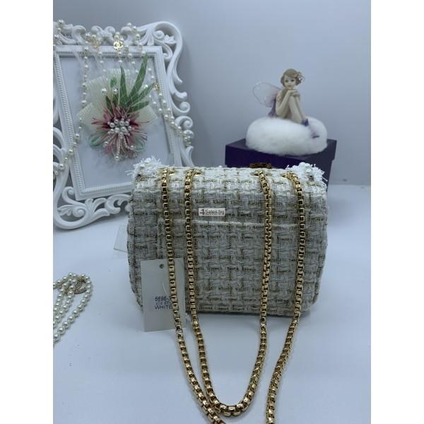 Стилна дамска чантичка с френски чар, с цветя и перли ZSB-S-12 6