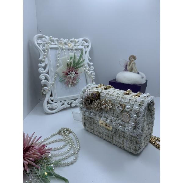 Стилна дамска чантичка с френски чар, с цветя и перли ZSB-S-12 7