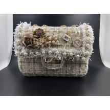 Стилна дамска чантичка с френски чар, с цветя и перли ZSB-S-12