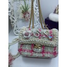 Дамска чантичка в розово със симпатична декорация ZSB-S-23