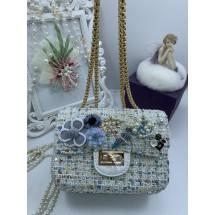 Синя дамска чантичка в розово с красиви детайли ZSB-S-24