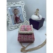 Изтънчена розова дамска чантичка с перли DZS-6