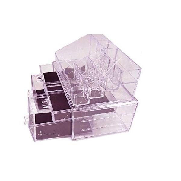 Функционален прозрачен органайзер за гримове в две части TV104 2