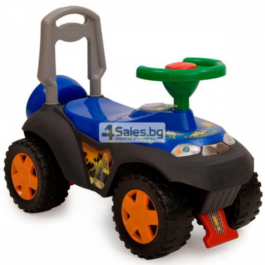 Детска кола за избутване с подвижно кормило и звукови ефекти DINO TOLOCAR