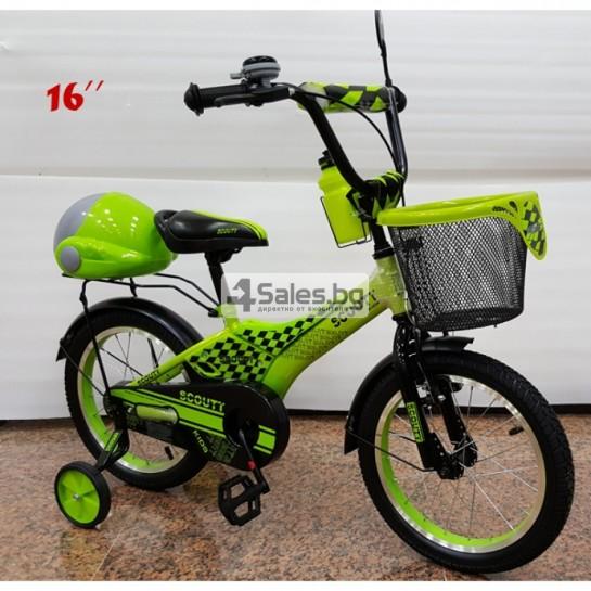 Велосипед за деца с помощни колела, кош за багаж и 16 инчови гуми
