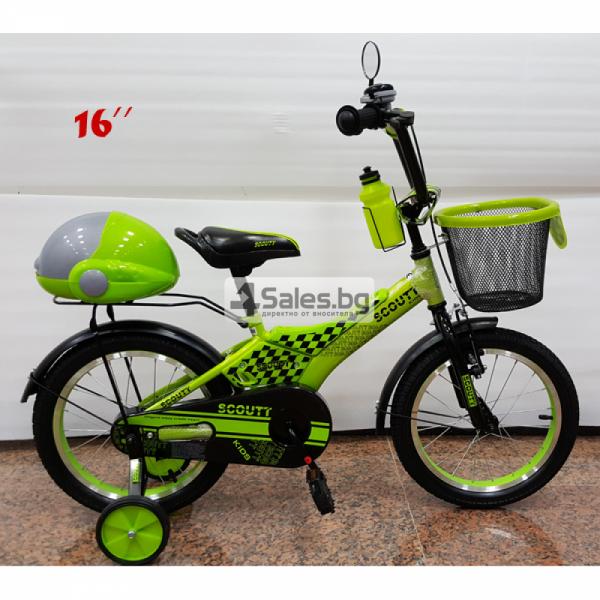 Велосипед за деца с помощни колела, кош за багаж и 16 инчови гуми 5
