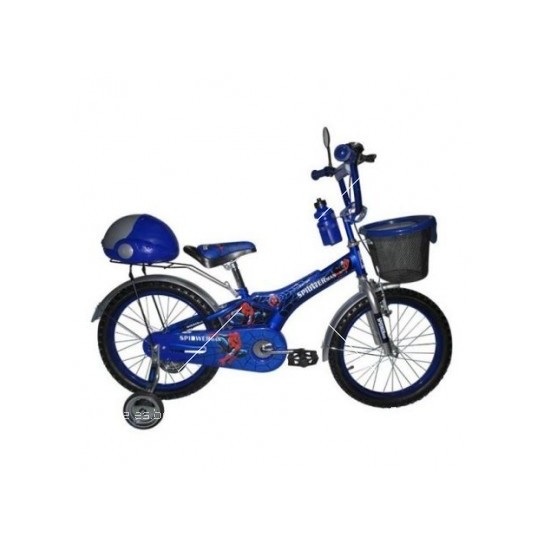 Детски велосипед с кош и помощни колела Spiderman с 16'' цолови гуми