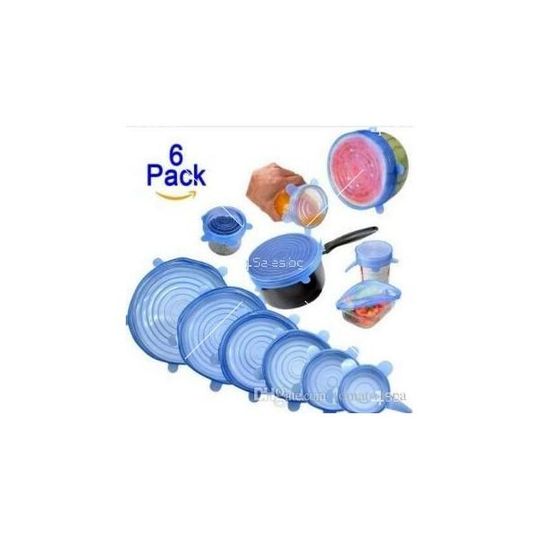 Комплект от 6 броя силиконови капаци за храна TV289 1