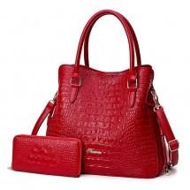 Елегантна, мека кожена чанта с крокодилски релеф в комплект с портфейл BAG85