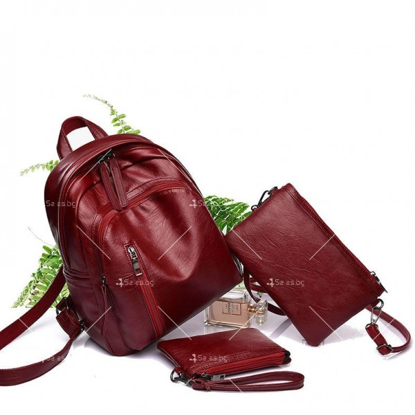 Дамска раница от висококачествена кожа с подарък малка чанта и портмоне BAG91 6