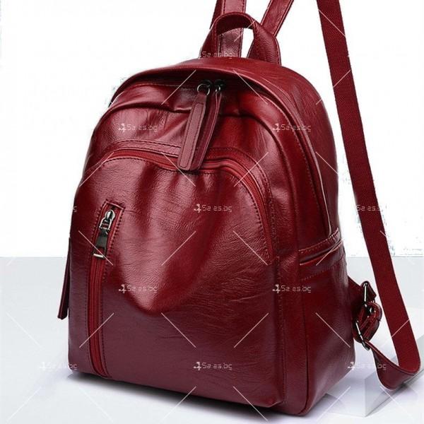 Дамска раница от висококачествена кожа с подарък малка чанта и портмоне BAG91 7