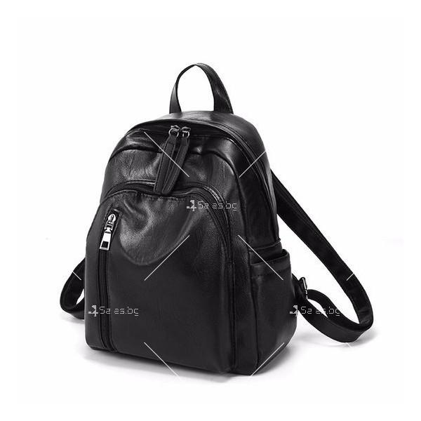 Дамска раница от висококачествена кожа с подарък малка чанта и портмоне BAG91 8