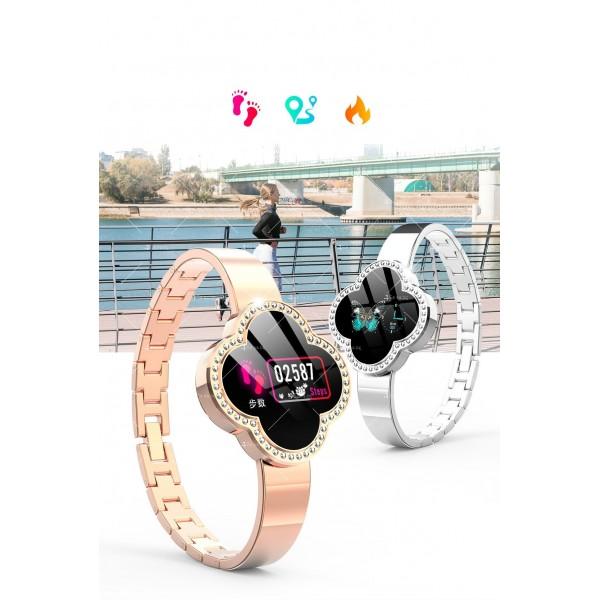Дамски смарт часовник S6 с красив екран и инкрустирани камъни SMW45 8