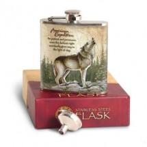 Метална сувенирна манерка за алкохол с вълк American expedition