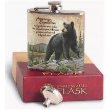 Метална сувенирна манерка за алкохол с мечка American expedition