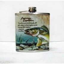 Метална сувенирна манерка за алкохол с риба American expedition