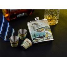 Комплект метална манерка за алкохол и чашки Риба