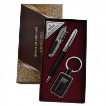 Комплект Химикалка, ключодържател, многофункционален сгъваем нож