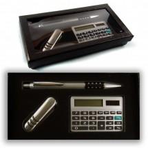 Подаръчен комплект – химикалка, калкулатор и сгъваемо ножче