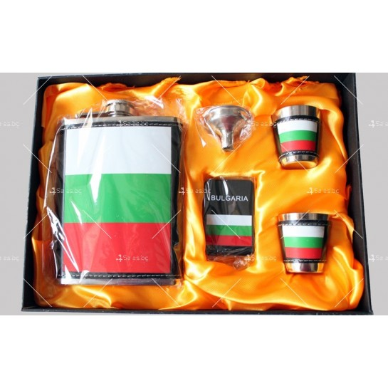 Комплект метална манерка за алкохол, чашки и табакера България