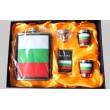 Комплект метална манерка за алкохол, чашки и табакера България 1