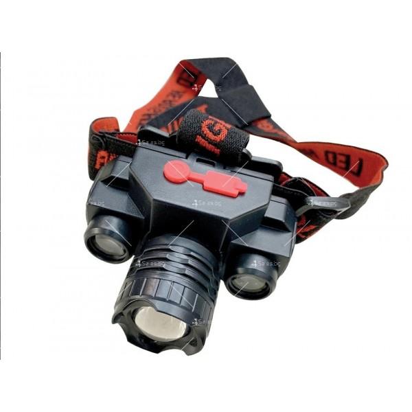 Мощен челник с двойна LED светлина, презареждане с USB порт