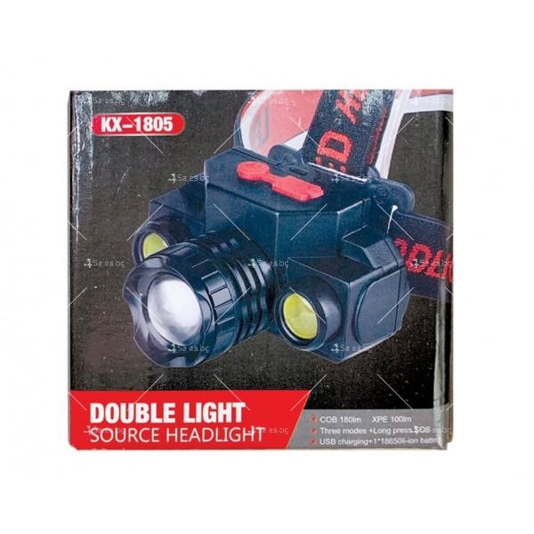 Мощен челник с двойна LED светлина, презареждане с USB порт 3