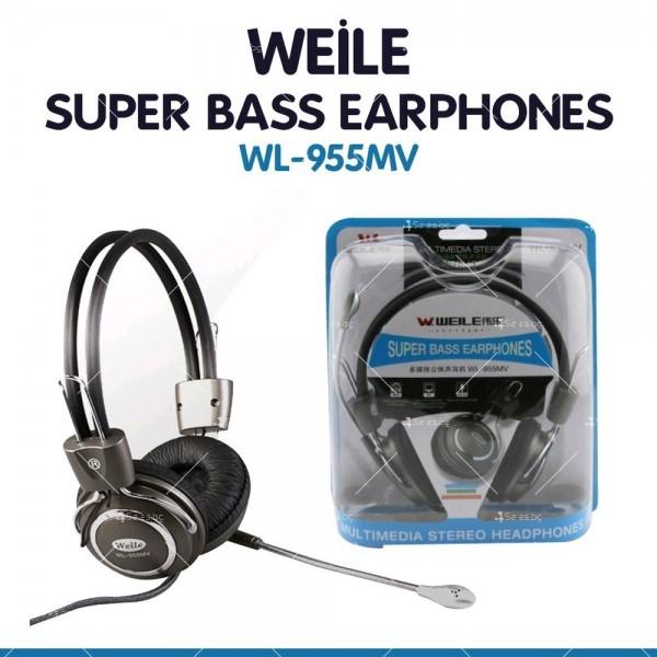 Слушалки с микрофон WEILE MV 95 супер бас