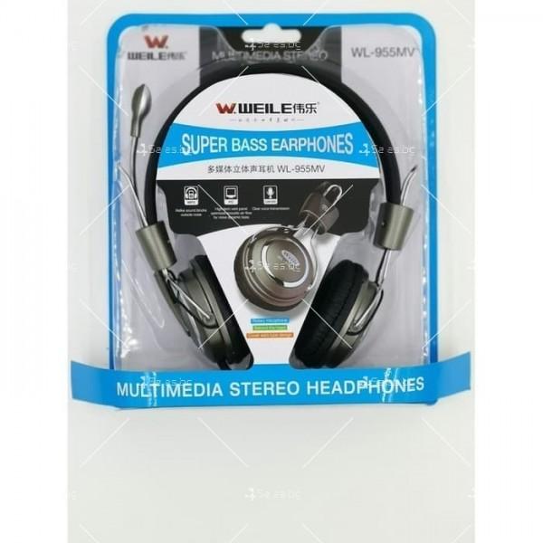 Слушалки с микрофон WEILE MV 95 супер бас 3