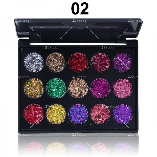 Палитра с блестящи сенки за очи с 15 цвята CmaaDU Hzs134 4