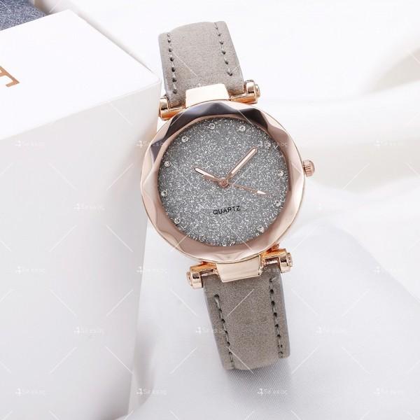 Луксозен дамски часовник с велурена каишка и кристали W WATCH3 3