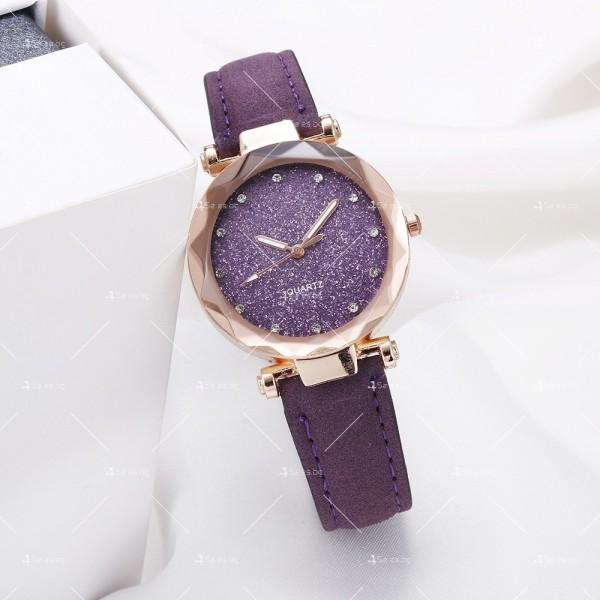 Луксозен дамски часовник с велурена каишка и кристали W WATCH3 5