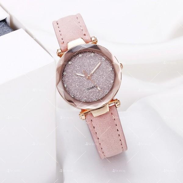 Луксозен дамски часовник с велурена каишка и кристали W WATCH3 2