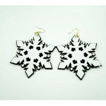 Масивни бели обеци снежинка А11