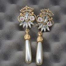 Стилни дамски обеци с корона, цветя и перли А37