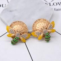 Златисти обеци със слънчев диск и пеперуда А41