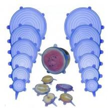 Комплект от 6 броя силиконови капака за съдове за многократна употреба