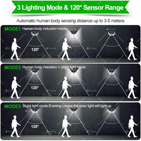 Водоустойчива соларна LED лампа за навън с 3 режима на работа H LED8 3